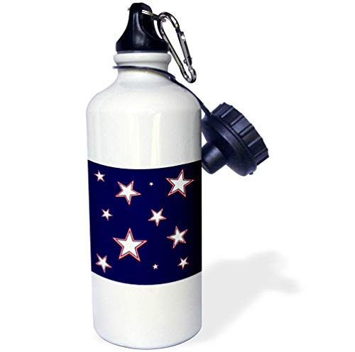 3dRose Alexis Design - America - Stars Of Freedom. Three color stars against the navy blue background - 21 oz Sports Water Bottle (wb_288375_1) by 3dRose