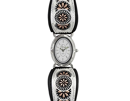 Montana Silversmiths Women's 'Prairie Blooms' Quartz Brass and Silver Plated Dress Watch(Model: WCH3098RGBK)