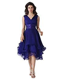 DINGZAN Woman's Short Bridesmaid Gowns Mother of the Groom Dress Chiffon