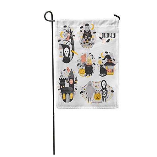 Tarolo Decoration Flag Bundle of Halloween Scenes Funny and Spooky Cartoon Characters Vampire Ghost Skeleton Grim Reaper Pumpkin Lantern Bats Thick Fabric Double Sided Home Garden Flag 12