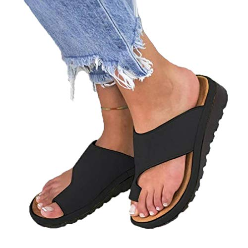 HAPPYSTORE Women Sandals Soft Summer Beach Travel Shoes Slippers Wedge Heel Open Toe Flats Holiday US:5-9 (US:7.5, Black) (Boots Rosen Ugg)