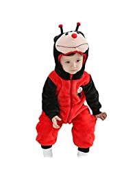 JIAJIA Unisex-baby Warm Flannel Animal Romper Outfits Suit Costume