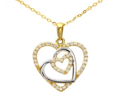 Revoni Bague en or jaune et blanc 9carats-Oxyde de zirconium Triple Cœur Charme pendentif et chaîne de 46cm