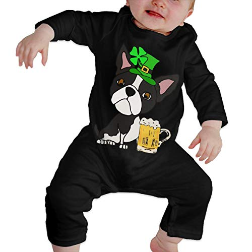 Mri-le1 Newborn Baby Long Sleeved Coveralls Boston Terrier Dog St. Patrick's Day Baby Rompers Black]()