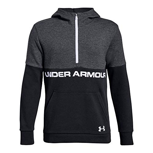 (Under Armour Boys Double Knit 1/2 Zip Hoodie, Black (003)/White, Youth Medium)