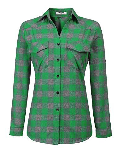 Zeagoo Womens Tartan Plaid Flannel Shirts, Roll up Sleeve Casual Boyfriend Button Down Gingham Checkered Shirt,Gray,Small