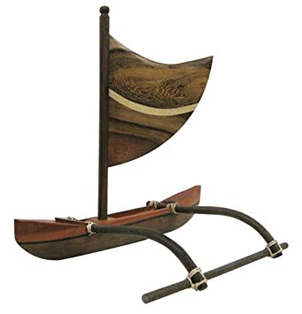 Hawaiian Style Wood Canoe Multi Wood Outrigger with Sail 10 inch