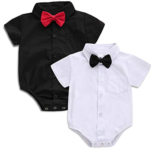 SOBOWO Baby Boys' Dress Shirt Bodysuit, Infant Gentleman Long/Short Sleeve Formal Romper Jumpsuit Wedding Party Outfits Pack of 2 (Short Sleeve Black & White 2-Pack, 9-12 Months)