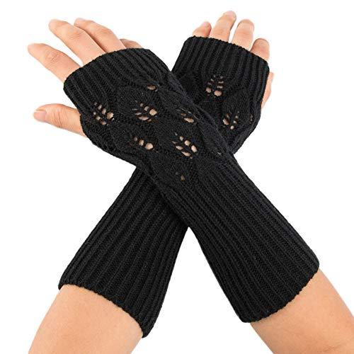 Fullfun Long Braid Cable Knit Fingerless Gloves Women Handmade Fashion Soft Gloves (Black)