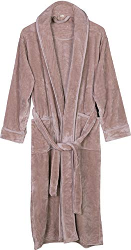 NY Threads Women's Fleece Bathrobe - Shawl Collar Ultra Soft Plush Spa Robe (Large, Taupe)