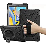 Galaxy Tab A 8.0 Case 2018,LLcase Heavty Duty Full-Body Rugged Protective Cover with 360 Degree Rotating Kickstand and Hand Strap for Samsung Galaxy Tab A 8.0 Inch 2018 SM-T387 Verizon/Sprint (Black)
