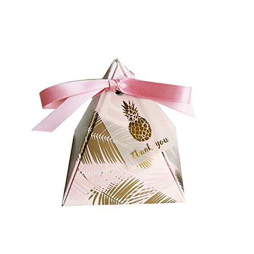 Colias Wing 50 pcs Lovely Golden Pineapple Leaves Pattern Pyramid Shape Stylish Design Wedding Birthday Party Favor Candy Boxes with Ribbon]()