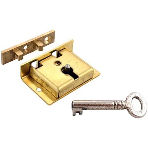 Half Mortise Lock Chest Trunk Medium Box Lock Solid Brass Cabinet Lock 2 Keys