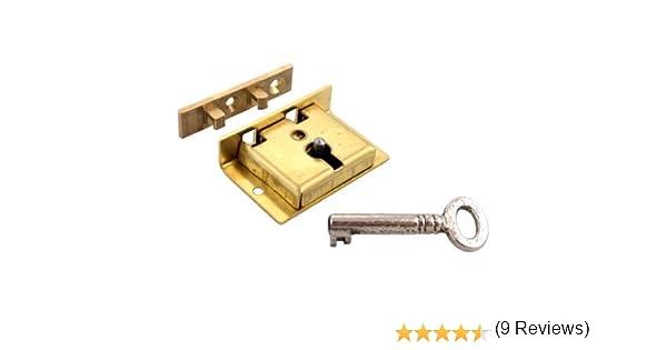 S-11 Large Brass Half Mortise Chest Lock with Skeleton Key Free Bonus Skeleton Key Badge UNIQANTIQ HARDWARE SUPPLY