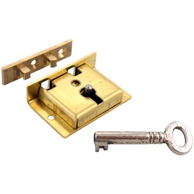 S-8 Small Brass Half Mortise Chest Lock with Skeleton Key + Free Bonus (Skeleton Key Badge)