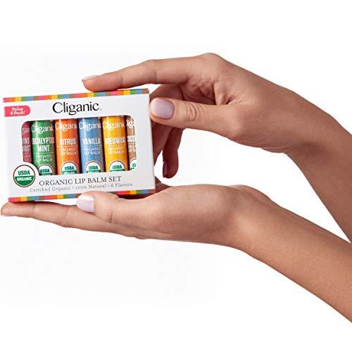 Cliganic USDA Organic Lip Balm Set – 6 Flavors – 100% Natural Moisturizer for Cracked & Dry Lips