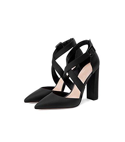 Black Baotou Nuevas Zapatos 39 Tacón Sandalias Tamaño Verano Hollow Alto Moda Femenina Altos Cruzada color Yubin Primavera Y De Cuero Correa Puntiagudo Tacones pBq0wRRF