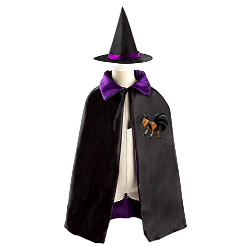 For Kids Devil Costume Homemade (Horse Monster Witch Wizard Cloak Cape Costume Boys Girls Reversible Purple Red)