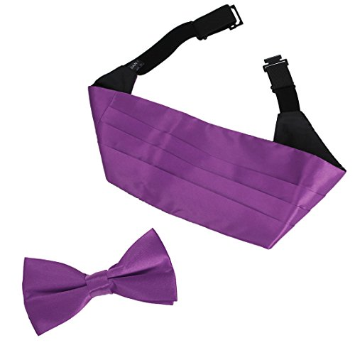 DIC1E01O+Dark+Violet+Solid+Microfiber+Fratty+Cummerbund+Set+For+Boyfriends+Cummerbund+Matching+Bow+Tie+By+Dan+Smith