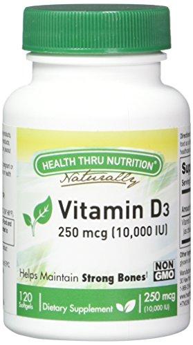 Vitamin D3 10,000 IU Non GMO 120 Mini Softgels (10000 iu cholecalciferol) Soy Free, USP Grade Natural Vitamin D -