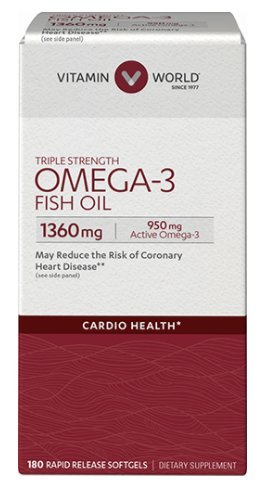 Vitamin World Triple Strength Omega-3 Fish Oil 1360 mg 180 rapid release softgels