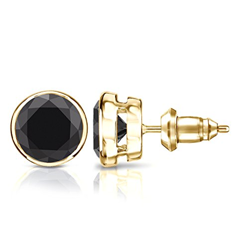 - Diamond Wish 18k Yellow Gold Round Solitaire Black Diamond Stud Earrings (4 carat TW) Bezel Set, Secure Lock Back