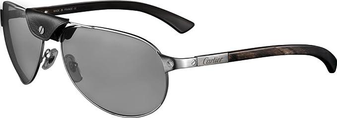 Cartier - Gafas de sol - para hombre Plateado CORNO: Amazon ...