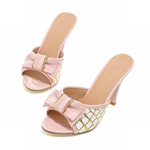 Charm Foot Womens Elegance Bows High Heel Open Toe Slipper Sandalo Rosa