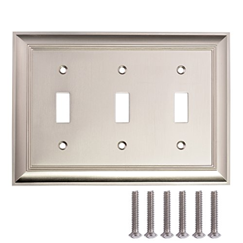AmazonBasics Triple Toggle Light Switch Wall Plate, Satin Nickel, 1-Pack