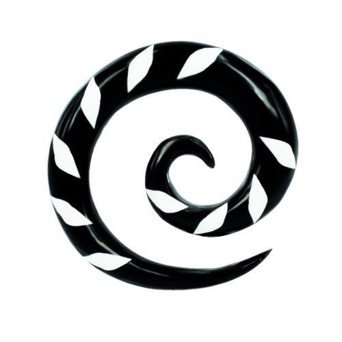 Chic-Net Buffalo Horn Tribal Piercing Expander spirale noir avec du blanc Karoinlay-3mm plug tunnel oreilles Boucles d'oreilles Boucles d'oreilles
