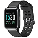 Letsfit Smart Watch, Fitness Tracker with 1.3'' Touch Screen, Heart Rate Monitor, Pedometer, Sleep Monitor, 5ATM Waterproof Smart Watch for Men Women-Black