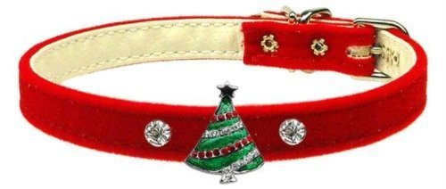 Mirage Pet Products Christmas Tree Charm Collar for Dogs, 14-Inch, Red Velvet