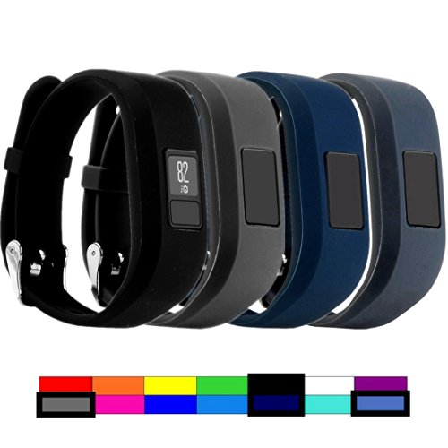 Dunfire for Garmin Vivofit 3 and Vivofit JR, Colorful Accessory Wristbands and Clip Case for Garmin Vivofit 3 and Vivofit JR (4PCS – Black&Grey&Navy&Slate, Small for Kids)