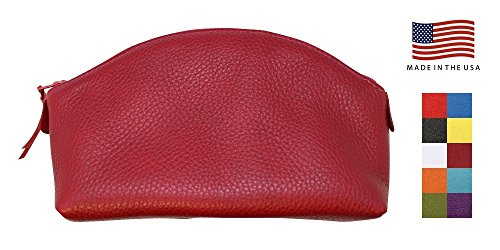 Cherry Red Genuine Leather Cosmetic Bag for Women - Colorado