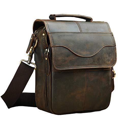 - Le'aokuu Mens Genuine Leather Sling Messenger Shoulder Satchel School Bag (V 144 Dark Brown)