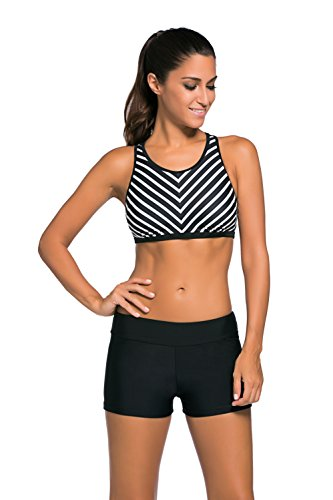 Racing Womens Brief - LOSRLY Women's Coastal Racerback Sport Exercise Swimwear with Panty Brief Black L 12 14