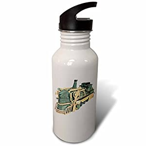 3dRose Boehm Graphics Steampunk – A Green Patina and Copper Steampunk Train Engine – Flip Straw 21oz Water Bottle (wb_256720_2)