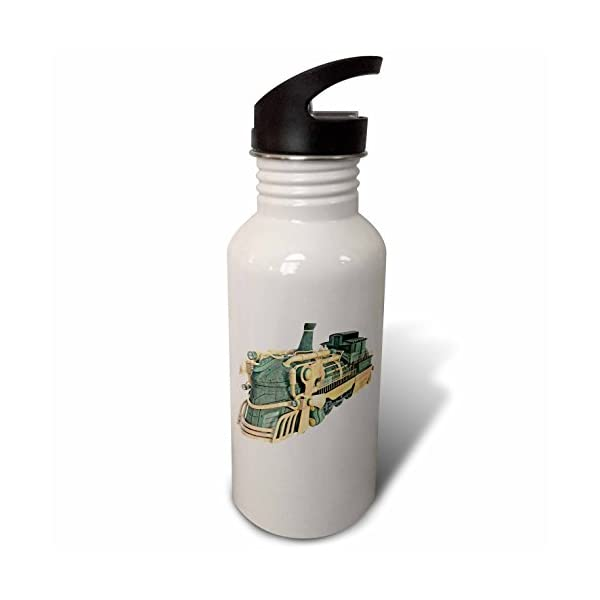 3dRose Boehm Graphics Steampunk - A Green Patina and Copper Steampunk Train Engine - Flip Straw 21oz Water Bottle (wb_256720_2) 3