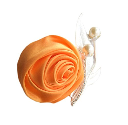 S_SSOY Boutonniere Bridegroom Groom Men's Boutonniere Groomsmen Best Man Boutineer with Pin Artificial Flower Brooch Corsage for Wedding Homecoming Prom Suit Decor Golden 1 Piece