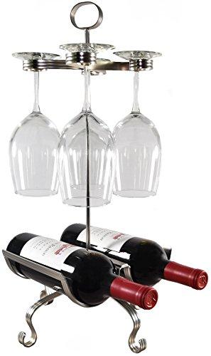 Mango Steam 2 Bottle Wine Rack And Stemware Holder Organizer Silver