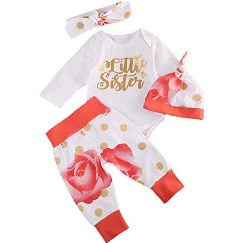 Yoveme Baby Girl Clothes Little Sister Long Sleeve Romper+ Rose Long Pants+Hat 4Pcs