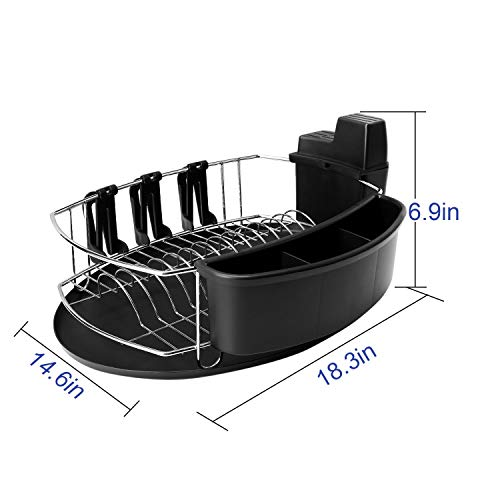 Toplife Dish Drying Rack Stainless Steel Rustproof, with Cup Holder, Knife Holder, Tableware Holder and Oval Drying Tray,Silver