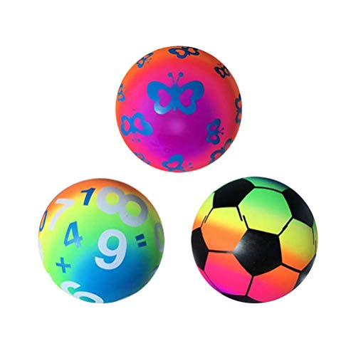 LIOOBO 3pcs Toy Beach Ball Child Inflatable Thickened Mixed Green Rainbow Ball for Indoor Outdoor Activities Beach Sports - (Mixed -
