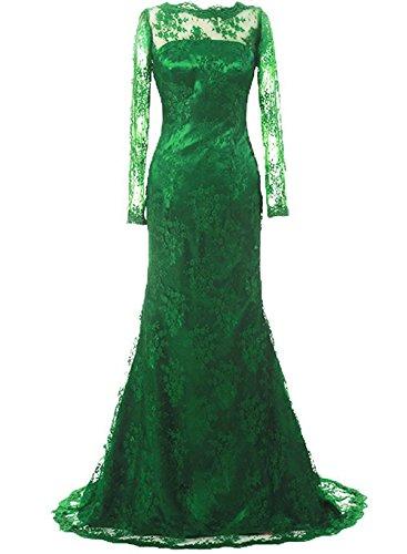 sposa sera formale Verde abito Donne Pizzo Vestito da JAEDEN Madre lungo lunga di Abito Manica YqpOP