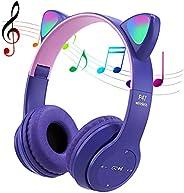 POTIKA Fone De Ouvido Bluetooth 5.0 Sem Fio, Fone De Ouvido Lindo Em Forma De Orelha De Gato, Cancelamento De