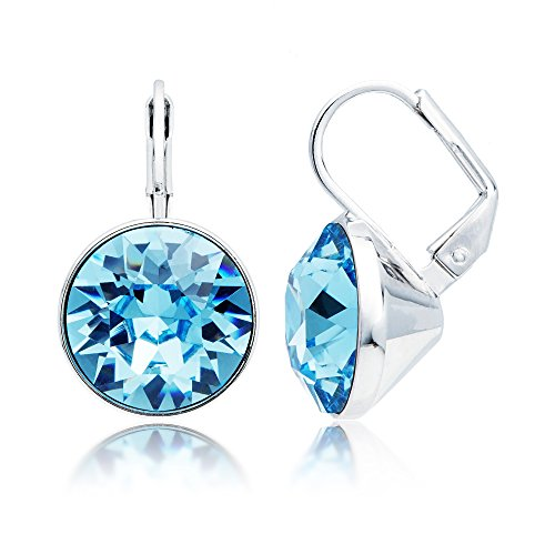 Earrings Bella Swarovski Pierced (MYJS Bella Drop Earrings Rhodium Plated with Aquamarine Swarovski Crystals Exclusive Limited Edition)