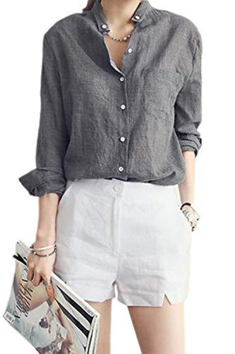 Uni Femme Longues Lin Dame Bouffant Chemise Chic Grey Automne Blouse Jeune Manches Tops Boutonnage Haut Elgante Vintage Loisir Mode Printemps Simple Manche Chemisiers rZSr4wq