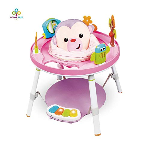 COLOR TREE Baby's View 3-Stage Interactive Activity Center, Baby Jumpers and Bouncers ,Pink, 4 Months