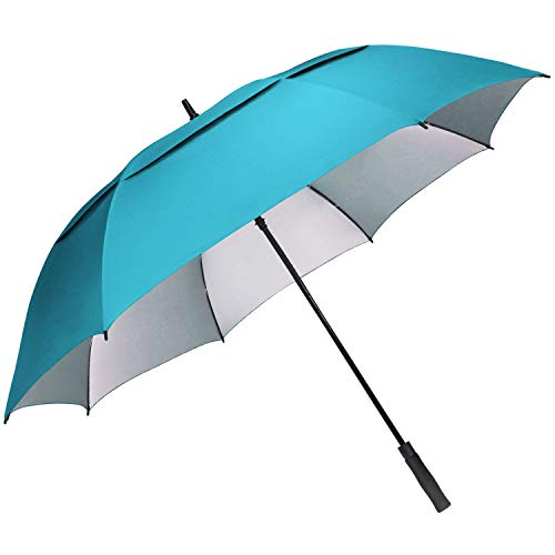 G4Free Windproof Golf Umbrella UV Protection 54 inch Auto Open Double Canopy Vented Sun Rain Waterproof Stick Umbrellas (Sky Blue)