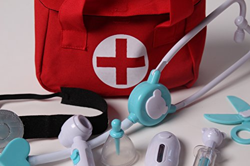 Lil' Doctor Medical 8 Piece Toy Play Set w/ First Aid Bag (Choose Color)